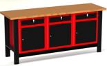 DOSTAWA GRATIS! 87871537 Stół warsztatowy z szafką, 3 szuflady, 3 drzwi - blat pokryty klepką bukową (wymiary: 1960x890x600 mm)