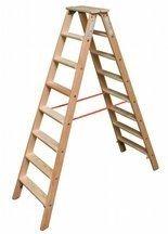 DOSTAWA GRATIS! 99674700 Drabina drewniana dwustronna Krause ze stopniami 2x10 (wysokość robocza: 3,75m)