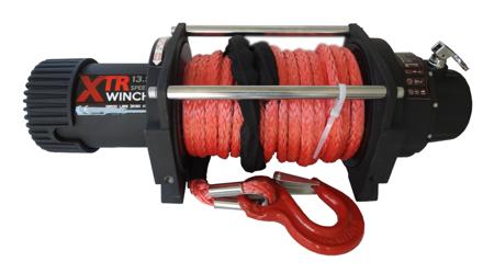 Wyciągarka XTR 13500lbs [6130kg] SPEED z liną syntetyczną 12V (lina: 10 mm czerwona dyneema 28m 10400kg +hak) 81877811