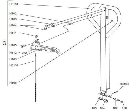 61605 Wózek paletowy (udźwig: 1000 kg, szerokość wideł: 100mm, wysokość podnoszenia: 70-240 mm)