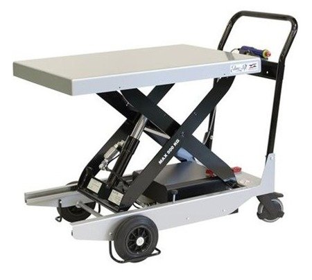 DOSTAWA GRATIS! 03073527 Wózek platformowy nożycowy elektryczny (udźwig: 500 kg, wymiary platformy: 900x600 mm, wysokość podnoszenia min/max: 330-930 mm)