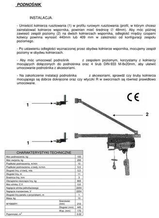 DOSTAWA GRATIS! 08172262 Wciągarka elektryczna linowa budowlana + Wysoki maszt + Ramie robocze (udźwig: 100/200 kg, długość liny: 15/7,5 m)