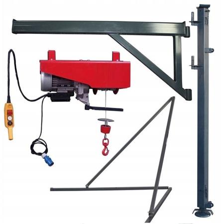 DOSTAWA GRATIS! 08172266 Wciągarka elektryczna linowa budowlana + Podpory + Wysoki maszt + Ramie robocze( udźwig: 300 kg)