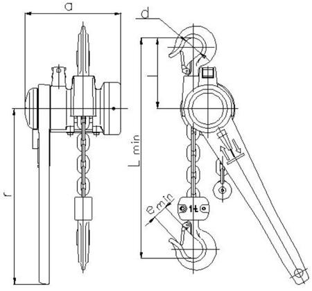 DOSTAWA GRATIS! 2209123 Wciągnik łańcuchowy dźwigniowy, rukcug z łańcuchem ogniwowym Z310/1.0t (wysokość podnoszenia: 4,5m, udźwig: 1 T)