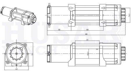 DOSTAWA GRATIS! 51973686 Wyciągarka Husar z liną stalową (uźwig: 5500lbs / 2495 kg, długość liny: 14,5m)