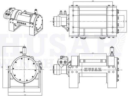 DOSTAWA GRATIS! 51973688 Wyciągarka hydrauliczna Husar z liną stalową (uźwig: 17637lbs / 8000 kg, długość liny: 32m)