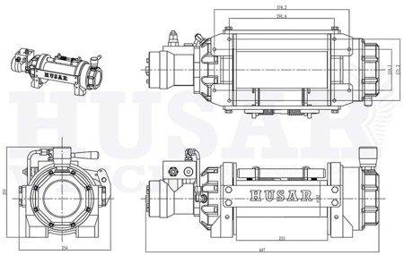 DOSTAWA GRATIS! 51973689 Wyciągarka hydrauliczna Husar z liną stalową (uźwig: 12000lbs/ 5443 kg, długość liny: 25,5m)