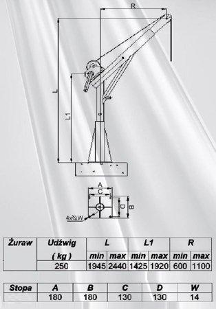 DOSTAWA GRATIS! 53368257 Żuraw ze stopą i wciągarką ręczną z liną 12m (udźwig: 250 kg, wysokość podnoszenia: 1945-2440 mm)