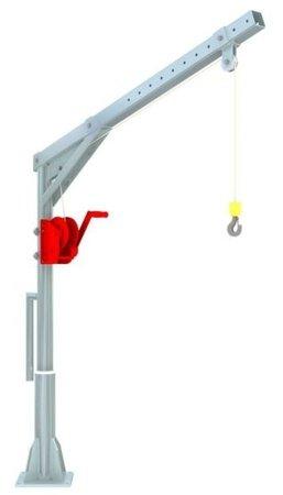 DOSTAWA GRATIS! 95873255 Żuraw słupowy ocynk + lina INOX z wciągarką ręczną (udźwig: 150 kg, długość liny: 12m)