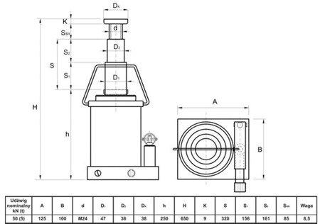 Podnośnik hydrauliczny teleskopowy - wysoki (wysokość podnoszenia min/max: 250/650mm, udźwig: 5T) 62776163