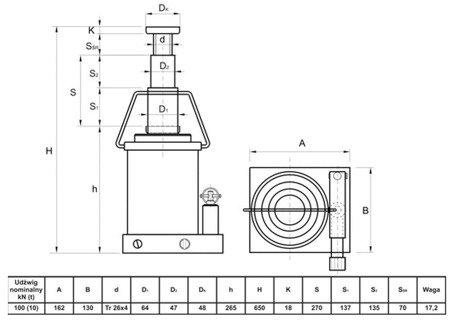 Podnośnik hydrauliczny teleskopowy - wysoki (wysokość podnoszenia min/max: 265/650mm, udźwig: 10T) 62776166