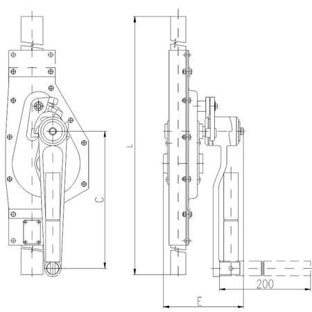 Podnośnik mechaniczny zębaty do kontenerów - wersja podstawowa (udźwig: 5 T, wysokość: 360 mm) 22077086