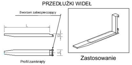 Przedłużki wideł udźwig 6000kg (1900mm) 29016504