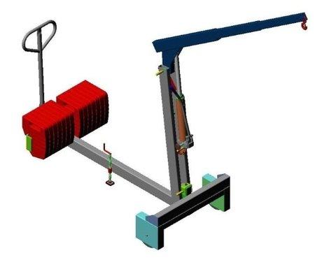 Tretok 61764863 Żuraw hydrauliczny ręczny z przeciwwagą (udźwig: od 220 do 500 kg)