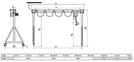 Wciągarka bramowa skręcana miproCrane DELTA 300, wciągnik łańcuchowy elektryczny zintegrowany z wózkiem elektrycznym + kaseta sterująca (udźwig: 3000 kg, wysięg: 4000 mm, wysokość podnoszenia: 3000 mm) 33977996