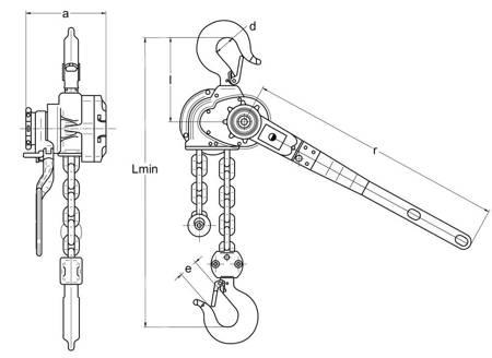 Wciągnik łańcuchowy dźwigniowy (wysokość podnoszenia: 2,5m, udźwig: 0,8 T) 22076835