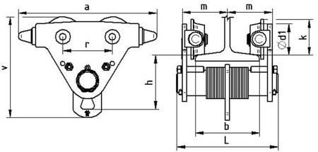 Wózek jednobelkowy (szerokość stopy belki: 50-113mm, udźwig: 1 T) 22076984