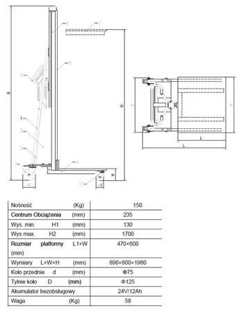 Wózek podnośnikowy z podestem elektryczny GermanTech (max wysokość: 1500 mm, udźwig: 150 kg) 99724815