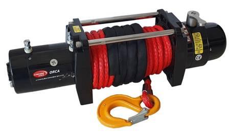 Wyciągarka KingOne ORCA 9,0 [4082kg] z liną syntetyczną 12V (lina: 10mm 25m czerwona 10400kg +hak) 81877876